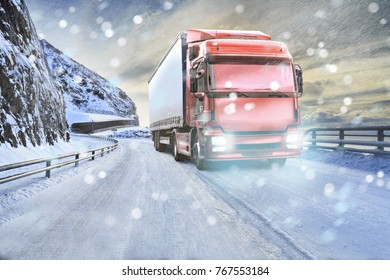 a truck on the wintry road, symbolic picture for cargo and transportation companies