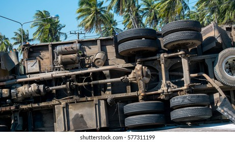 Truck overturned on the road