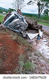 Truck overturns in crash Goiania-Brasilia Highway,  Goiania, Goias State. Brazil. November. 2010