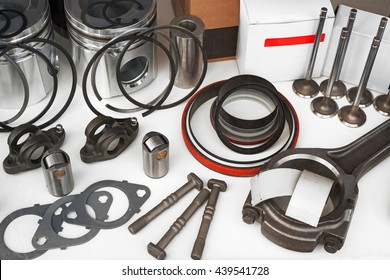 Truck parts on white background