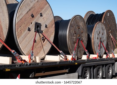 Truck with pulleys transportation background