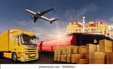 Truck, rail, air and ship transport boxes symbolizing the international trade