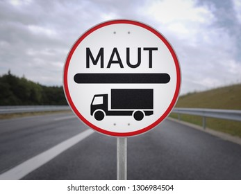 Truck road charge toll sign German autobahn