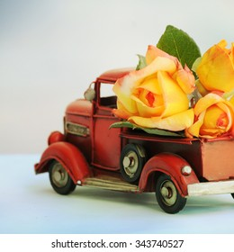 Truck with roses. Gift for Mothers Day
