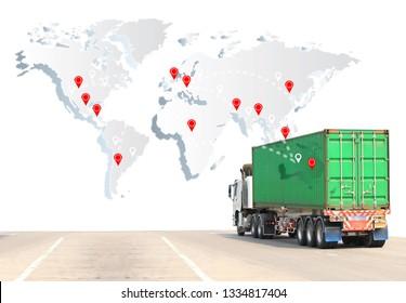 Truck run on road, Drive on road, transportation logistics concept