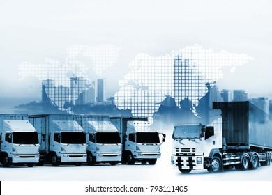 Truck run on road, transportation logistic concept