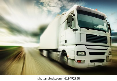 Truck speeding at country road
