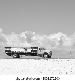 Truck with Storm Clouds Black and White