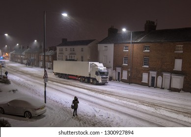 truck stuck in snow with artic trailer