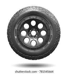 Truck tires wilderness of road mud isolated on white background. This has clipping path.