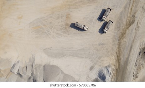 truck top view in quarry with drone landscape 2