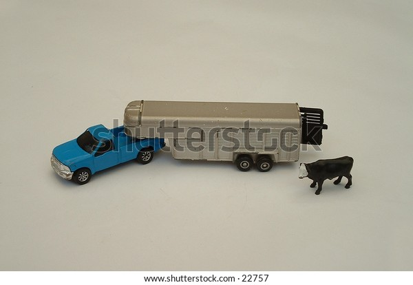Truck and trailer with cow, isolated on white
