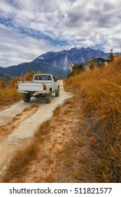 a truck as the transportation to carry goods for rural area in Kundasang