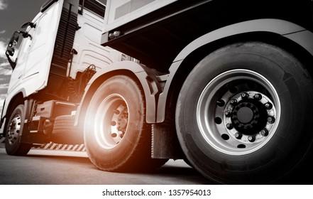 Truck transportation, close up wheel of semi truck.