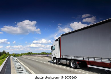 Truck transportation on the bridge