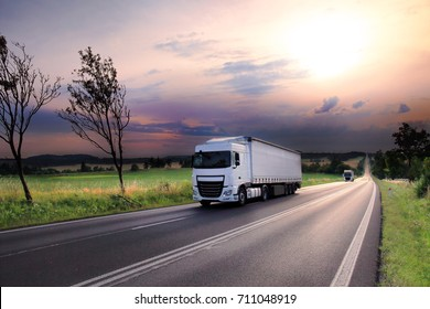 Truck transportation at sunset