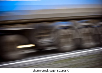 Truck wheels motion shot on road