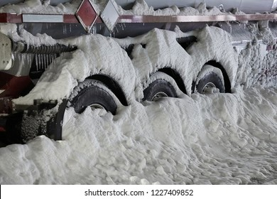 Truck wheels stuck in the snow