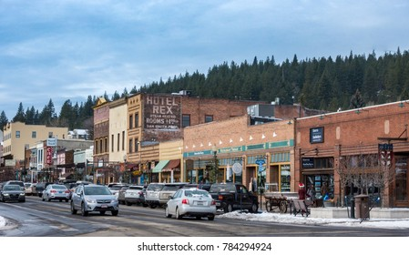 Truckee, California - December 22, 2017: The Old Town of Truckee, on Donner Pass Road, is well known for great restaurants, art galleries and gift shops.  The old Hotel Rex once had rooms for $1.