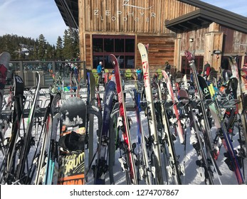 Truckee, California/USA - January 2, 2019: a row of skis outside of the lodge on top of a ski resort in Lake Tahoe