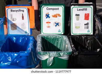 """TRUCKEE, CA/U.S.A. - JUNE 14, 2016: A photo of recycling, compost and landfill containers at """"Truckee Thursdays,"""" a weekly summer event that includes entertainment and various vendors."""