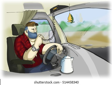 The trucker in the cockpit talking by radio set, in a red shirt.