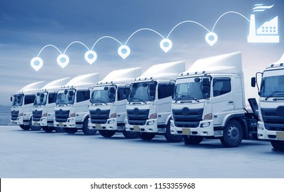 Trucking fleet with pin location and industrial factory transportation concept.
