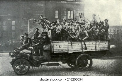 Truckload of excited soldiers during Russian Revolution. St. Petersburg, 1917.