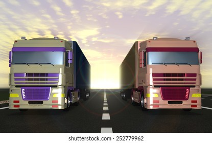 Trucks carrying cargo on the highway in the sun, the sky and clouds.