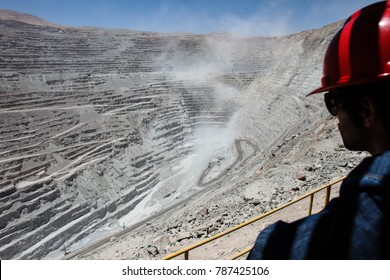 Trucks at Chuquicamata,  the world's biggest open pit copper mine in Calama, Chile