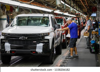 Trucks come off the assembly line at GM's Chevrolet Silverado and GMC Sierra pickup truck plant in Fort Wayne, Indiana, U.S., July 25, 2018. Picture taken on July 25, 2018.