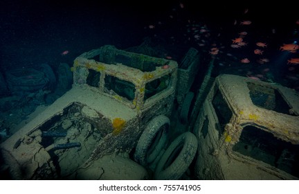 Trucks inside cargo hold of shipwreck of Thistlegorm. Northern Red Sea.