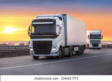 trucks moves on the country highway