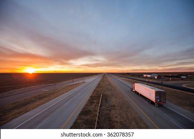 Trucks on the open road, southwest US