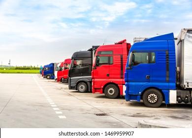 Trucks on parking, cargo transportation in Europe