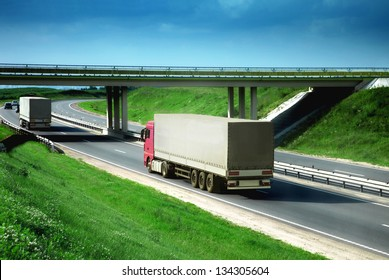 trucks on a road