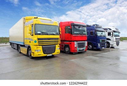 Trucks in parking