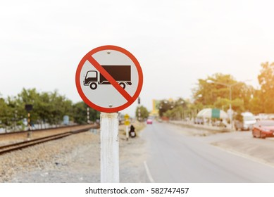 Trucks Prohibited sign. No truck allowed sign