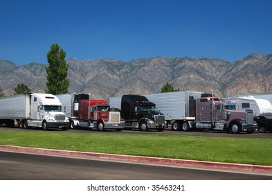 Trucks at rest area north from Salt Lake City, Utah, USA