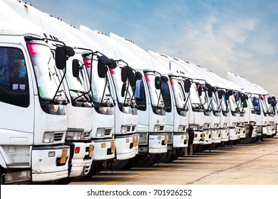 Trucks in a row with Container background, Logistic and Transport concept