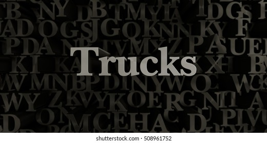 Trucks - Stock image of 3D rendered metallic typeset headline illustration.  Can be used for an online banner ad or a print postcard.