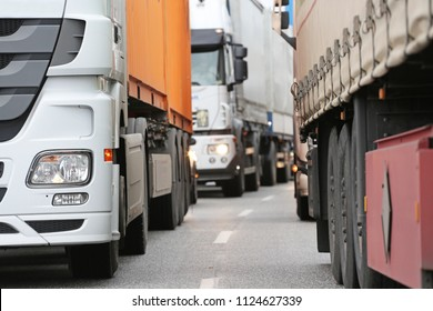 trucks in traffic jam