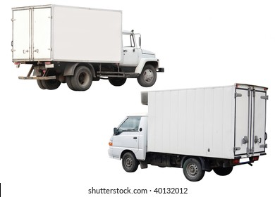 Trucks under the white background