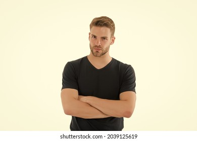 True confidence. Guy handsome unshaven face mustache. Beard and hair care barber shop. Skincare and beauty concept. Casual but handsome. Handsome bearded man with stylish hair and healthy young skin - Shutterstock ID 2039125619