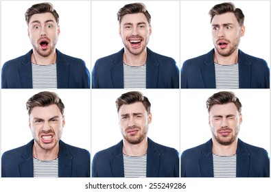True emotions. Collage of handsome young man expressing different emotions while standing against white background