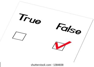 True and false question with a checkmark