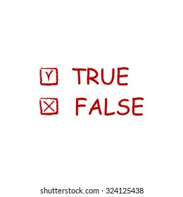 True and False. Red flat icon. Illustration symbol on white background