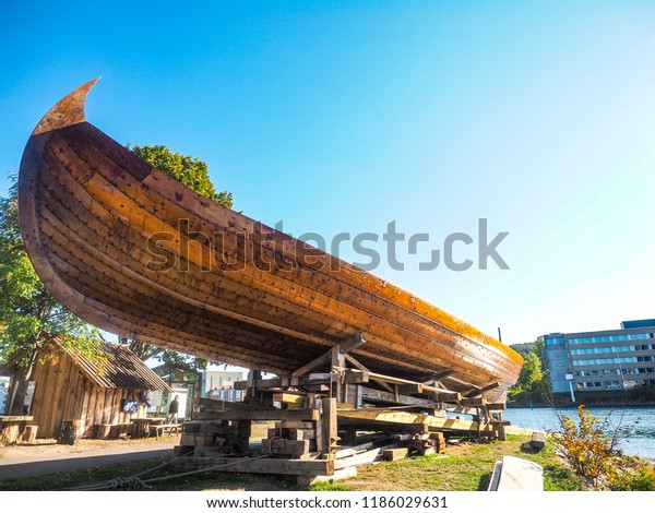 True replica of a viking vessel at the waterfront of Tonsberg, Norway. On its way to the Black Sea, to rediscover the old path from the vikin era