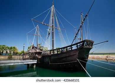 true sized replica of ancient boat named Pinta, one of the ships of Christopher Columbus when discovered America in 1492, docked at harbor caravels, in Palos de la Frontera, Huelva, Andalusia, Spain