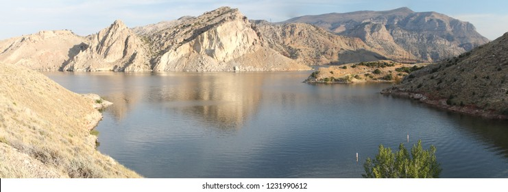 True wide panorama of Boysen Reservoir at the mouth of the Wind River Canyon in central Wyoming in the summertime.